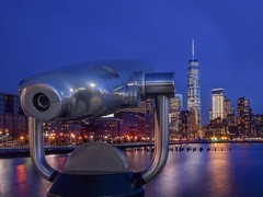 Viewing Machines (karinavera) Tags: street city nyc longexposure travel blue sky newyork building architecture river cityscape manhattan wtc machines viewing viewingmachines nikond5300