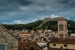 Hvar Rooftops & Fort (el_boberino) Tags: travel vacation holiday landscape nikon cityscape croatia stormy hvar hrvatska travelphotography nikon3200 d3200