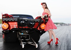 Holly_4690 (Fast an' Bulbous) Tags: girl woman car vehicle automobile hot sexy people outdoor drag strip race track santa pod england red dress shoes high heels stilettos stockings legs long hair beauty pose model polkadot hotty ford thunderbird supercharged 1955