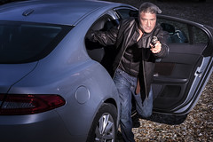 Robbery (joehantsphoto) Tags: man car outside fuji mask jag masked robbery blag offcameraflash xt1 strobist
