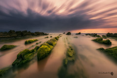 Spring in Barrika II (Caramad) Tags: longexposure sunset sea seascape sol landscape mar agua rocks playa puestadesol olas bizkaia rocas barrika marcantbrico