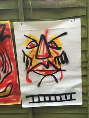 Impolite (Krillinator) Tags: street uk red summer england sun white black colour detail art face lines yellow illustration composition self work fence garden painting paper outside outdoors layout graffiti student paint artist different hand bright personal drawing expression contemporary background creative free vivid surreal style images spray illustrative line marks size illustrator ladder draw outlines simple produced bold foreground individual 2016
