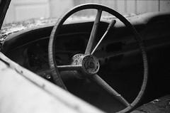 (Casey Lombardo) Tags: dp3200 bwfp film filmphotography filmgrain filmscans ilford ilfordfilm ilforddelta3200 blackandwhite bw bwphotography monochrome yashica yashicaelectro35 yashicaelectro vintagecar vintagecars oldcar oldcars steering steeringwheel jalopy jalopies rusty shabby