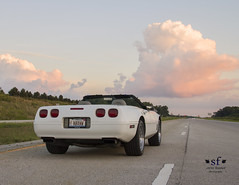 My Ride to Photo Shoot Locations (SteveFrazierPhotography.com) Tags: corvette convertible 1995 c4 white sunset clouds pink summer macombillinois mcdonoughcounty stevefrazierphotography sports car muscle automobile highway parked