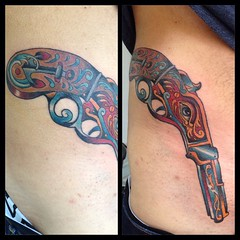 Pistol on Marlon #skinarttattoo2 #poochart #symbeos #traditional