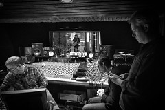 Studio - 1 - BW (Rockman of Zymurgy) Tags: uk newcastle punk band paulharvey penetration 1976 recordingstudio 2015 trinityheights stevewallace paulinemurray robertblamire fredpurser