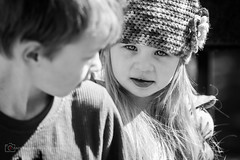 Brother and sister (BrettAnderson_) Tags: boy portrait bw white black nature girl face hat saint minnesota kids canon mouth hair children outside paul spring eyes child close little zoom sister mark telephoto jacket ii blonde 5d bother tamron mn 70200
