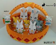 Basket with bunnies Origami 3d (Samuel Sfa87) Tags: rabbit bunny bunnies easter happy origami basket arte sfa block rabbits carta artisan pasqua coniglio cestini cartone cesto cestino arteempapel blockfolding origami3d sfaorigami sfa87 arteconlacarta