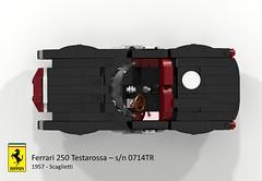 Ferrari 250 Testarossa  s/n 0714TR (1958 - Scaglietti) (lego911) Tags: auto red italy classic sports car model italian lego head render under over ferrari redhead 1950s million 1958 challenge lemans thousand 250 tr cad racer lugnuts 89 povray testarossa v12 moc scaglietti drogo ldd miniland 0714 lego911 0714tr overamillionunderathousand sn0714tr