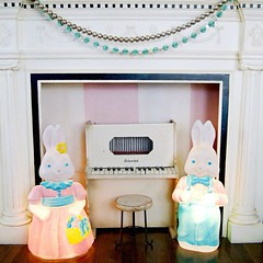 Look who hopped into town (holiday_jenny) Tags: cute bunnies vintage easter couple blogger plastic rabbits blowmold