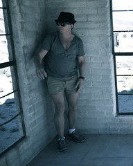 """""""Scared"""" Undercover Agent: Brief Intermission (due to possible rattlesnakes in the area) (Blue Rave) Tags: people sexy male guy hat desert legs shy dude thighs disguise spy mysterious agent shorts fedora mate undercover bloke incognito 2015 guysinshorts meninshorts"""