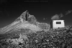 Hiking in the Breitgrieskar (wende60) Tags: morning bw mountains alpes landscape shelter karwendel biwak breitgrieskar