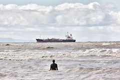 'Lost' at sea (cathbooton) Tags: sea liverpool lost boat waves ship castiron april british 100 rough figures canoneos sculptor antonygormley obe anotherplace crosbybeach canonusers 30aug1950