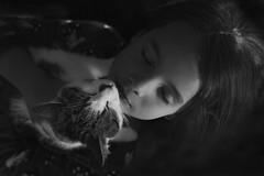 16 Looking Down (manuegali) Tags: portrait love girl childhood cat mono eyes kitten child hugs cuddles tender