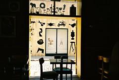 R1-031-14 (David Swift Photography Thanks for 16 million view) Tags: windows film philadelphia 35mm cafe olympusstylusepic doors restaurants murals coffeehouse oldcity muralartsprogram emptychairs kodakportra davidswiftphotography