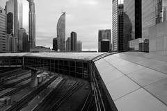 above the fray (Ian Muttoo) Tags: bw toronto ontario canada reflection architecture reflections path gimp walkway covered raised ufraw ltower shiftn dsc54211editshiftn
