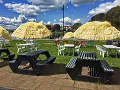 Canoe Lake Cafe (Jainbow) Tags: canoelake cafe tables chairs picnic deckchairs clouds sky southsea portsmouth jainbow