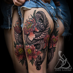 Katies-cute-snake-and-peonies-with-just-a-touch-or-a-little-bit-of-muted-color-in-the-peonies-done-by-Ben-lucas-at-Eye-Of-Jade-in-Chico-CA-U.S.Ajpg