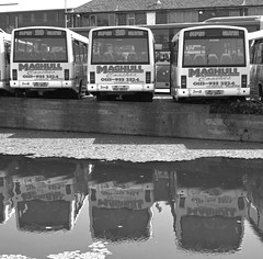 Canal Buses (Phillip Marshall) Tags: reflection bus water liverpool canal coach transport maghull