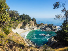 McWay Falls (melastmohican) Tags: sand falls nature water fall sea mcway beach ocean waterfall scenic cove pacific view sur landscape rocky vacation america travel waves coastal california blue coastline tide beautiful julia pfeiffer highway big burns park usa coast cliff state