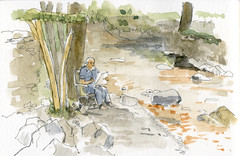 June 03 2016: Sketching by the river, Elterwater, Lake District