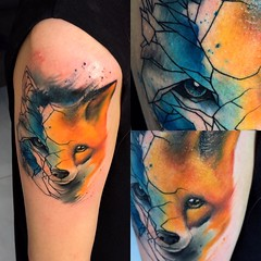 fox (ktattoo2711) Tags: art animal tattoo watercolor sketch artist vietnamese drawing sketching indoor tattoos vietnam fox draw saigon linework tattooist geometic si gn dotwork watercolortattoo saigonese smalltattoo xm