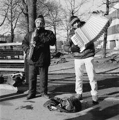 Musicians outside Ikea (swedish silver) Tags: street winter ikea musicians sweden stockholm accordion cm hasselblad 28 500 saxophone 80mm imacon kurva kungens