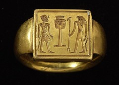Ancient Egypt. Gold Ring Pharaoh before the emblem of Hathor and the god Horus, New Kingdom (mike catalonian) Tags: gold ring pharaoh ancientegypt newkingdom