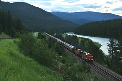 God's Country Scene - Donlan, MT (MinnKota Railfan) Tags: santa railroad mountain mountains tree burlington forest train montana grain engine 4th rocky peak rail railway loco link locomotive fe peaks northern bnsf mrl subdivision manifest raillink