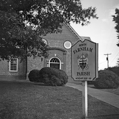 North Farnham Church I (dungan.robert) Tags: blackandwhite film church virginia ilford argus 620 richmondcounty seventyfive panf50 caffenolcmrs copyrightrobertedungan2016 northfarnhamparishchurch