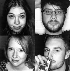 Fwiends (christait) Tags: friends blackandwhite bw canada calgary portraits studio amy pierre hasselblad alberta brendan ringflash yyc ilforddelta3200 500cm ashleen rodinal1100stand2hrs