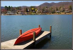 I Can Row A Boat...Can-oe? (Jerry Jaynes) Tags: homes lake mountains water buildings nc dock northcarolina canoe lakejunaluska nikkor1685vr hcclakejunaluska