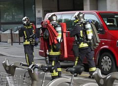 Firemen (crystalseas) Tags: paris outdoor fireman firebrigade emergencyservices sapeurspompiersdeparis