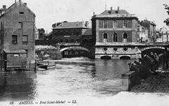 AMIENS : Pont Saint-Michel (CPA) (xavnco2) Tags: old bridge france vintage river postcard ponte pont amiens usine postale carte picardie ancienne fleuve saintmichel somme cpa hydraulique