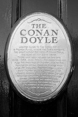 The Conan Doyle 02 (byronv2) Tags: blackandwhite bw history monochrome bar scotland blackwhite pub edinburgh books literature writer sherlockholmes newtown author sirarthurconandoyle edimbourg picardyplace