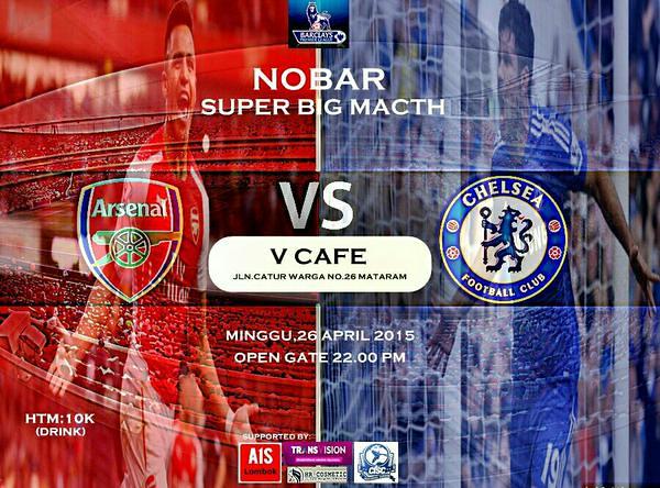 AIS Lombok #AIS @AIS_LBK: #MatchScreeningAISLBK ARSENAL vs Chelsea Minggu 26/04/2015 KO: 23.00 wita venue: V-Cafe HTM: 10k @ID_ARSENAL s0FRuR65wlR