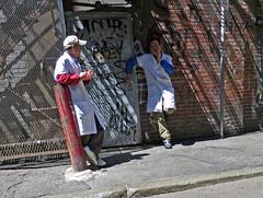 Boston2GuysonBreak (fotosqrrl) Tags: urban boston alley chinatown massachusetts streetphotography smoking doorway fireescape tagging knappstreet