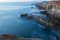 Sunset Cliffs (Photos By Clark) Tags: ocean california blue mist water twilight rocks waves unitedstates pacific sandiego cities places location cliffs where northamerica subjects sunsetcliffs lightroom locale canon2470 beachshots canon60d
