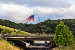 rowell ranch prca pro rodeo (pbo31) Tags: california blue sky dublin usa color green america giant spring nikon highway crane flag may overpass american bayarea eastbay castrovalley alamedacounty 580 2016 boury pbo31 d810 rowellranchrodeo