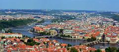 Panorama of Prague. View from lookout tower of Vyshegrad (Caulker) Tags: prague bridges vltava 11052016