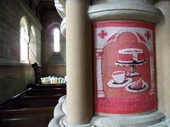 Cake pillar (Nekoglyph) Tags: windows light red christchurch white black art cakes stone wooden arch needlework tea yorkshire capital pillar historic needlepoint cups pews tapestry refreshments appletonlemoors