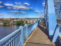 Downtown La Crosse 138/366 (j_wrobel) Tags: bridge sky water wisconsin clouds river mississippi landscape downtown bridges running run mississippiriver motivation bluffs workout lacrosse lacrossewi hdr cloudporn iphone project366 iphonehdr iphone6 cassstbridge iphone366