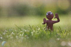 Back off, Monday! (Pog's pix) Tags: morning light cute green wet water grass sparkles garden scotland dewdrops moody bokeh lawn clay dew angry flare animation colourful morph grumpy waterdroplets ayrshire backoff childrenstv stewarton tonyhart ihatemondays tvcharacter eastayrshire backoffmonday