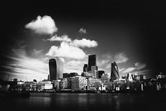 Skyline (ShrubMonkey (Julian Heritage)) Tags: city sky urban bw thames skyline architecture clouds skyscraper buildings mono gherkin walkietalkie cheesegrater a7r