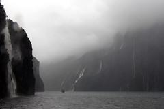 Milford Sound In The Rain (Alan1954) Tags: newzealand holiday water rain boat waterfall sound fjord milfordsound 2014 platinumpeaceaward