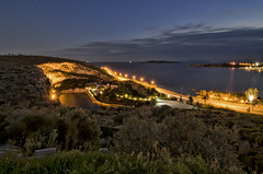 Lake of Vouliagmeni  by night (n.pantazis) Tags: longexposure lake water pool night lights pentax dusk streetlights bluehour tamron spa vouliagmeni pentaxk30