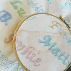 IMG_20160515_143715 (Roxy Creations) Tags: floral vintage handmade quote monogram embroidery antique pillow vintagefabric gift applique cushion embroidered hemp handembroidered
