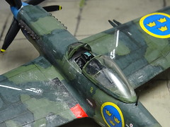 1:72 SAAB J27A; 'Blå Rudolf' ('Blue R', s/n 27044), Swedish Air Force Göta Flygflöttilj 9/2nd squadron; Säve airfield (south-western Sweden), summer 1949 (Whif/Kitbashing) (dizzyfugu) Tags: 172 saab l27 j27 griffon spitfire super mustang p51 piston fighter postwwii green sweden swedish contraprop blue rudolf blå air force göta flygflöttilj 9 f9 säve whif whatif fictional aviation modellbau dizzyfugu kitbash airfix matchbox p47 bubble canopy crowns