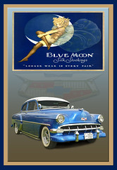 1954 Chevy - Blue Moon Silk Stockings (Brad Harding Photography) Tags: 1954 54 chevy chevrolet sedan carshow antique vintage historic chrome whitewalls kansascity missouri olccarbikeshow bluemoon silkstockings restoration restored car automobile vehicle generalmotorscorporation gmc americanmade