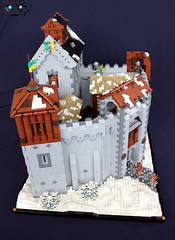 Rekkrfell Fortress (soccersnyderi) Tags: wood windows roof winter snow tower castle glass stone wall design lego citadel interior working medieval stained hoarding keep custom build technique barracks stable fortress functional portcullis battlements gatehouse moc crenelations mitgardia mitgardian